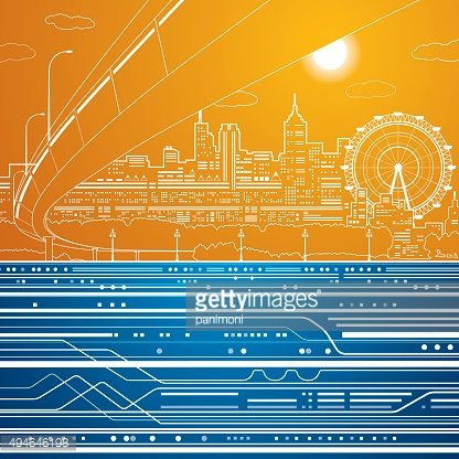 Vector city, entertainment park, road and metro