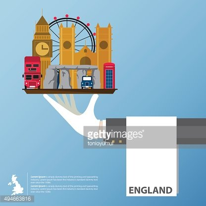 Flat icons design of United Kingdom landmarks. Global travel infographic.