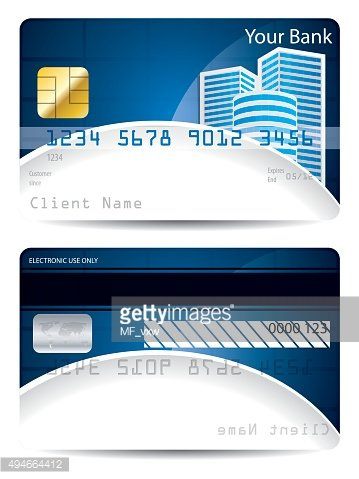 Credit card template in blue white with skyskrapers