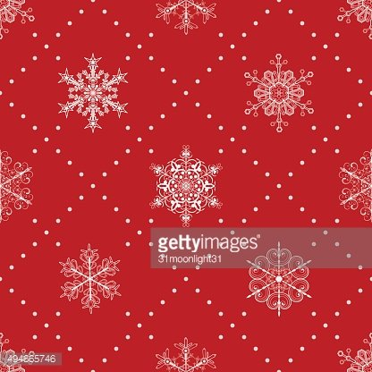 Seamless pattern of snowflakes, white on red