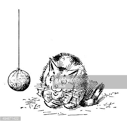 Antique children's book comic illustration: cat playing with ball