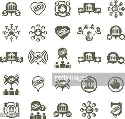Bank and money theme vector unusual icons set, financial theme