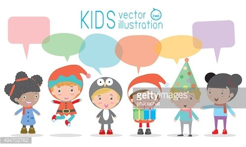 Cute kids with speech bubbles on white background.