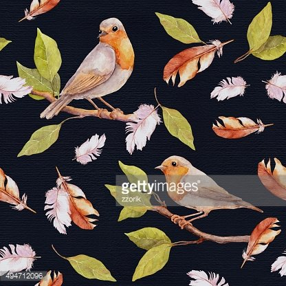 Bird on branch and feathers. Seamless pattern. Watercolor
