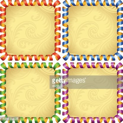 Vector holiday ribbon square frame set