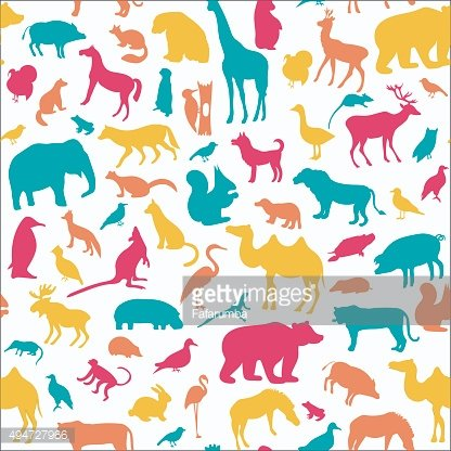 Animals silhouette seamless pattern.