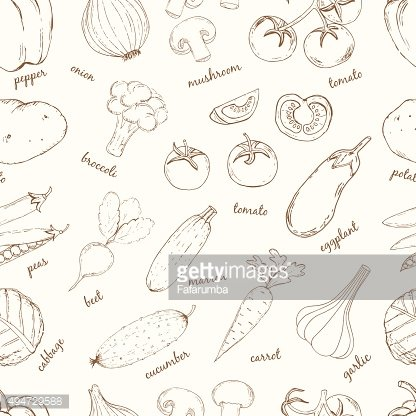 Vegetables with names seamless pattern.