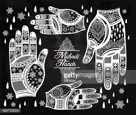 Hands with henna tattoos set illustration.