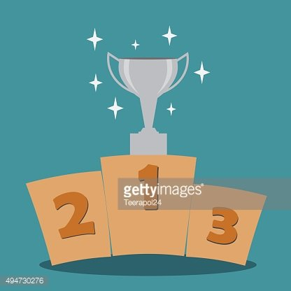 Silver cup on prize podium.Vector illustration.