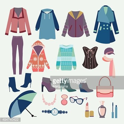 Woman Clothes collection for design of Fashion boutique.