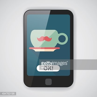 mustache coffee cup flat icon with long shadow,eps10
