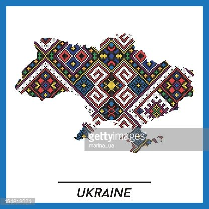Map of Ukraine with ethnic pattern, vector