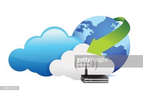 Globe router cloud computing moving concept