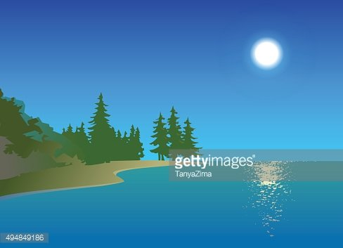 Summer day on the sea. Cartoon style. Postcard. Poster. Background.