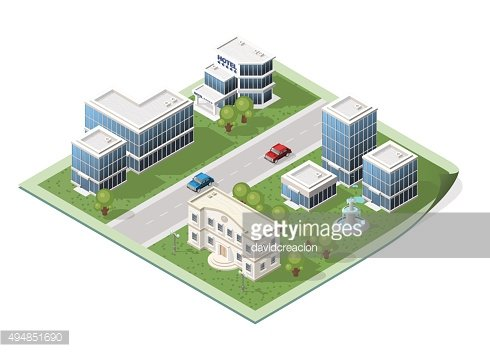 Set of Isolated Isometric City Elements on a Map.