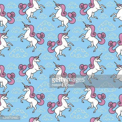 Cartoon seamless pattern. Unicorn with rainbow and clouds.