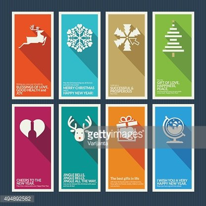 Set of Christmas and New Year flat design greeting cards