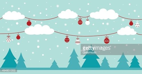 Holiday background - Christmas trees and clouds decorating with holiday ...