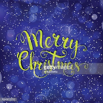 Christmas background with snowflakes and handwritten text 'Merr