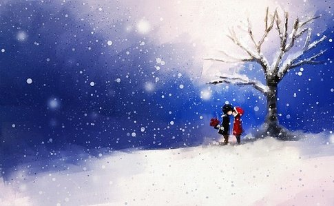 digital painting of young couple kissing on winter day