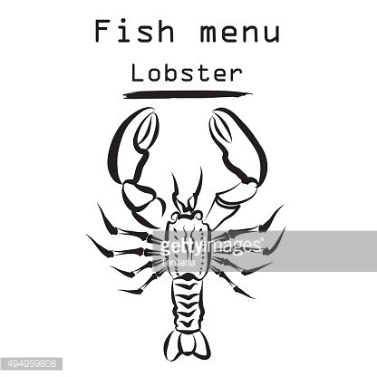 Lobster icon. Seafood restraunt cover background.