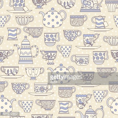 Seamless pattern with teacups and teapots