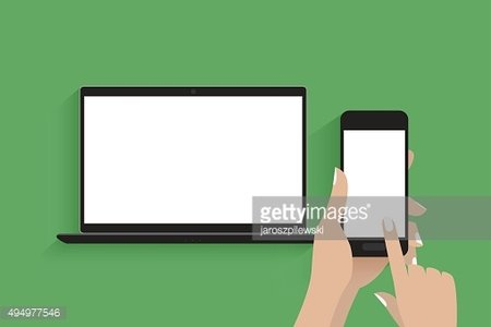 Simple vector of laptop and hands holding smart phone.