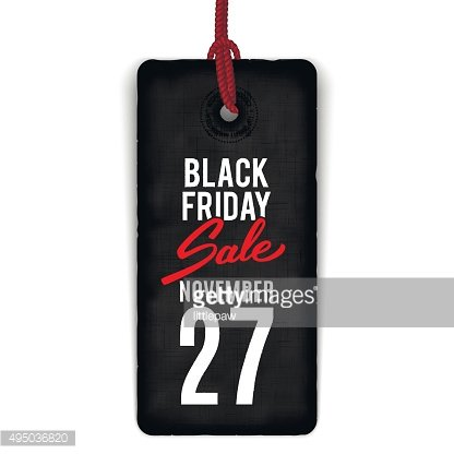 Black Friday sale realistic tag, banner, advertising, vector illustration