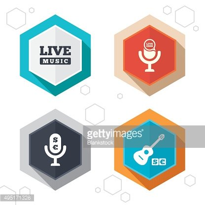 Musical elements icon. Microphone, Live music