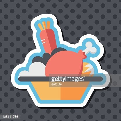 thanksgiving dinner flat icon with long shadow