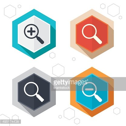 Magnifier glass icons. Plus and minus zoom tool