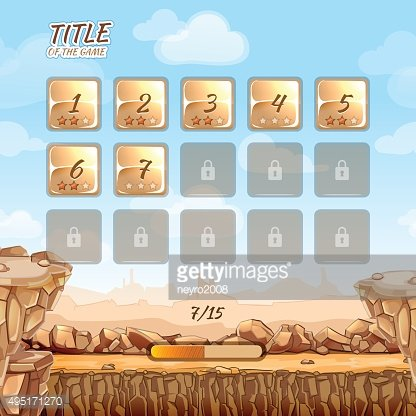 Stone and rocks desert game background with user interface UI