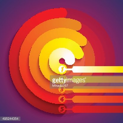 Abstract infographic red, orange and yellow 3d circle shapes 5