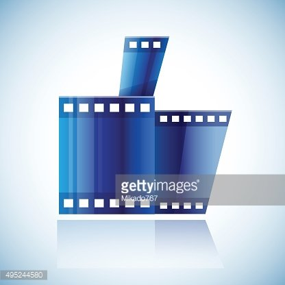 Curled blue cinema tape film human hand with thumb up
