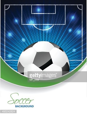 Abstract soccer brochure with bursting ball and space for text