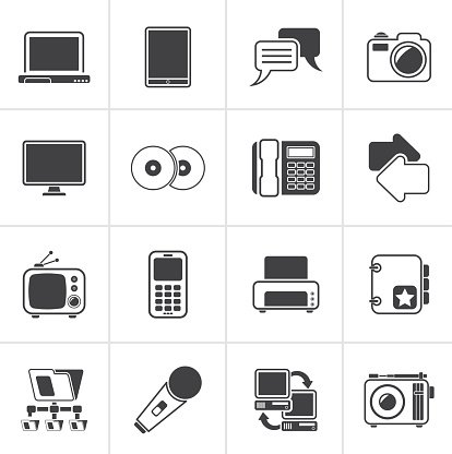 Black Communication and connection technology icons