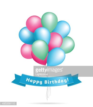 Realistic colourful balloons. Birthday background