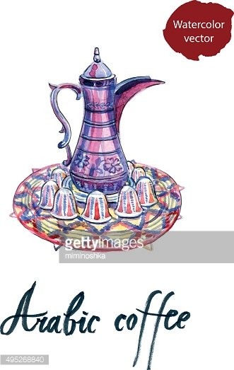 Watercolor arabic Coffee pot and cups set