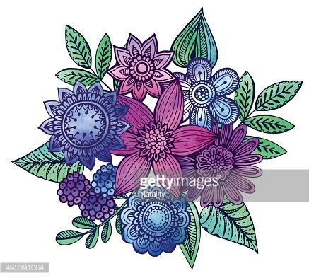 Vector illustration with hand drawn flowers bouquet