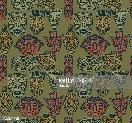 Seamless vector pattern with hand drawn fancy masks