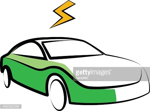 modern electric car silhouette. electric car illustration