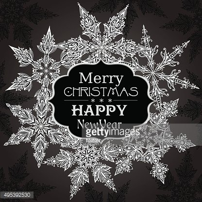 Vector Christmas Greeting Card with hand drawn ornamental doodle
