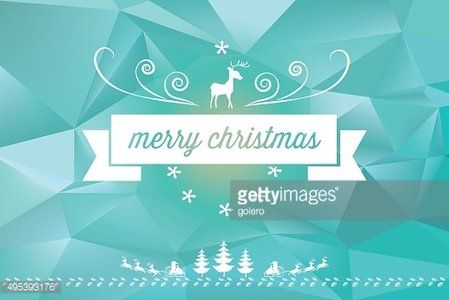 christmas line ornament on blue colored polygonal 3d background
