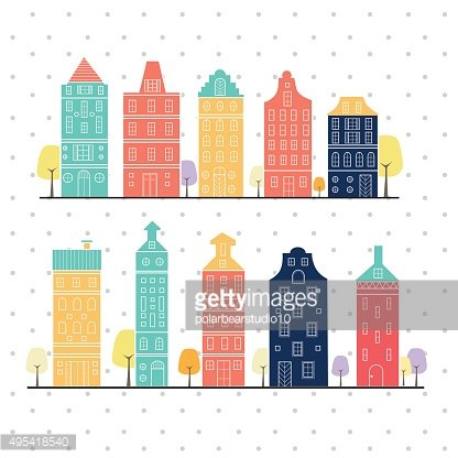 Amsterdam houses style variation pastel color