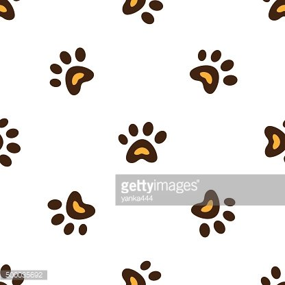 Seamless pattern with heart shaped animal footprints.