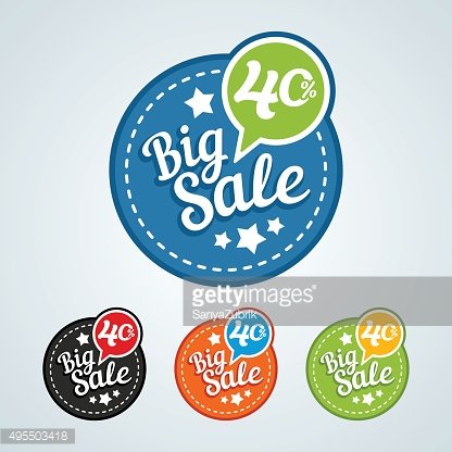 Big sale of 40 percent of the round label.