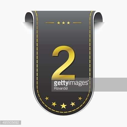 2 Number Vector golden Web Icon