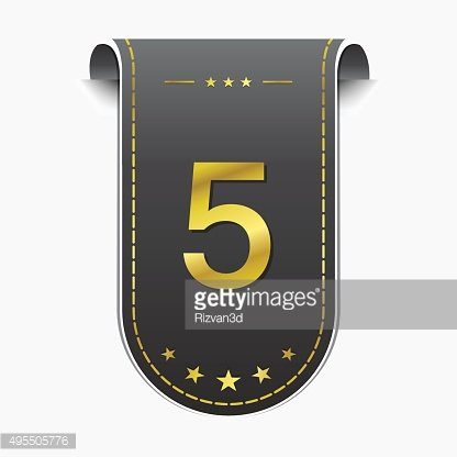 5 Number Vector golden Web Icon