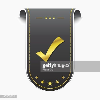 Tick Mark Vector golden Web Icon