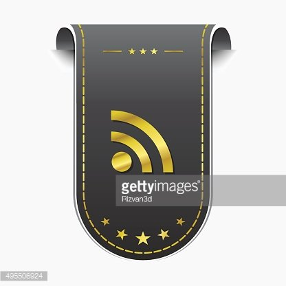 RSS Sign golden Vector Icon Design